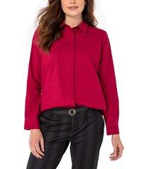 women's liverpool stretch cotton blend button-up shirt, size large - burgundy