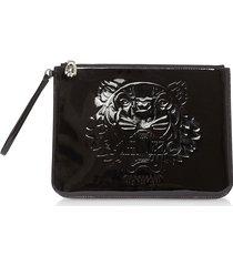 kenzo designer handbags, black preppy tiger embossed eco-leather clutch