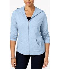 karen scott zip-front hoodie, created for macy's