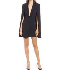 katie may boss lady cape minidress, size medium in black at nordstrom