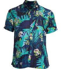 camisa areia branca slim fit floral samoa estampada azul