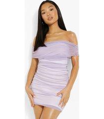 petite contrasterende mesh midi jurk met uitgesneden hals, lilac