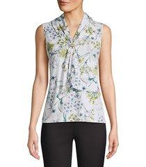floral tie-neck blouse