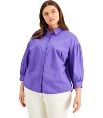 alfani plus size 3/4-sleeve shirt, created for macy's