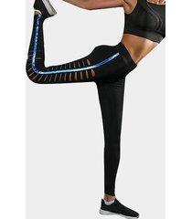 leggings de yoga de cintura alta con diseño de agujeros recortados activos en negro