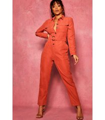 suedette utility cargo belted jumpsuit, rust