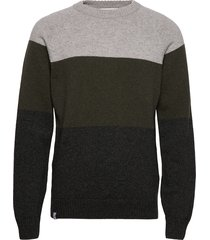 block knit stickad tröja m. rund krage grön makia