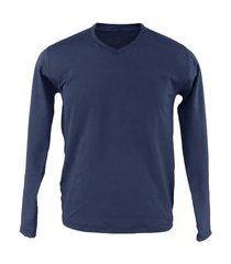 blusa térmica masculina segunda pele v thermo premium original slim fit - azul marinho