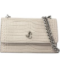 jimmy choo sand croc-embossed leather clutch bag