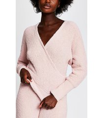 river island womens pink fluffy knit long sleeve wrap top