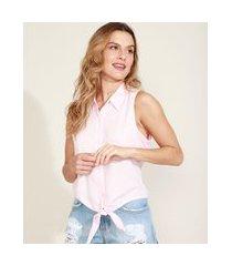camisa feminina com nó sem manga rosa claro