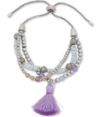 lonna & lilly bead & tassel multi-row slider bracelet