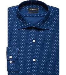 esquire navy & white diamond slim fit dress shirt