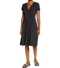 l.l.bean summer knit midi dress, size small in black at nordstrom