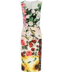 dolce & gabbana patchwork print longuette dress