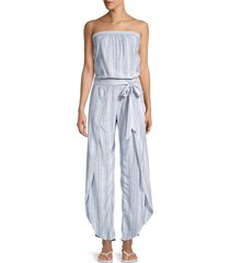 supply & demand women's emerson striped jumpsuit - coral - size xs