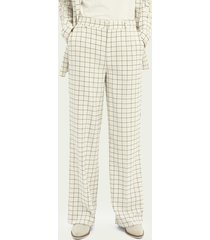 scotch & soda edie high-rise wide-leg checked trousers