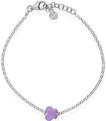 bracciale in argento rodiato e smalto viola con simbolo farfalla per donna