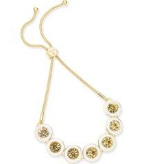 alfani gold-tone crystal slider bracelet, created for macy's