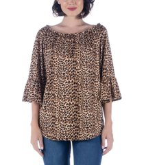 women's animal print elastic neckline tunic top