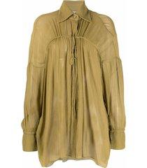 aeron string-detail silk shirt - green