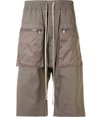 rick owens drkshdw drop-crotch knee-length shorts - green