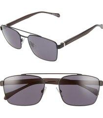 boss 57mm aviator sunglasses in matte black at nordstrom