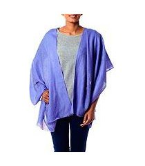 wool shawl, 'periwinkle allure' (india)