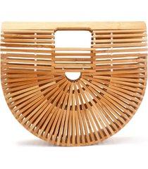 bolsa clutch de bambu isla galerias pequena cor natural