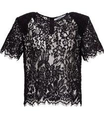 self-portrait black lace cotton t-shirt