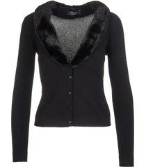blumarine black cardigan with mink collar