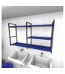 prateleira industrial para lavanderia aço preto mdf 30 cm azul escuro modelo ind14azlav