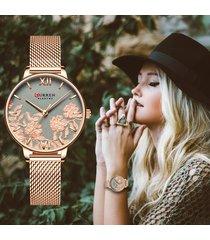 curren reloj dama análogo elegante carátula de flores dorado