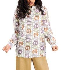 marella printed mandarin-collar silk top