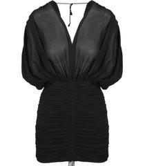 saint laurent draped silk mini dress
