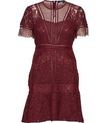 chante lace short sleeve dress kort klänning röd french connection