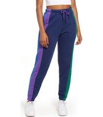 women's cross colours women's stripe cotton blend track pants, size x-large - blue
