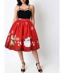 women a-line christmas print skirt christmas knee length swing midi skirt- red