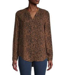 beach lunch lounge women's annina printed blouse - sepia - size xs