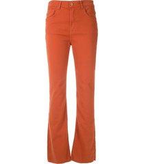 eva twill cropped flared trousers - orange