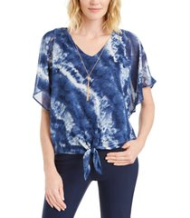 jm collection petite split-sleeve necklace top, created for macy's