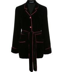 dolce & gabbana velvet belted blazer - black