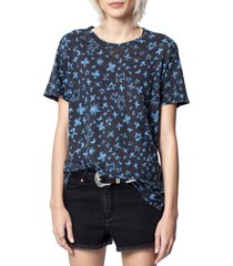 women's zadig & voltaire aria pastel print linen tee, size x-small - blue