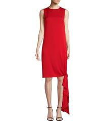 milly women's chiara knotted midi dress - ruby - size 0
