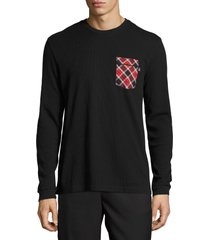 psycho bunny men's long-sleeve black waffle-knit lounge pocket shirt, x-large