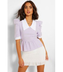 dogtooth boucle collared blouse, lilac