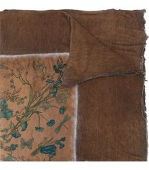 avant toi floral-print oversized scarf - brown