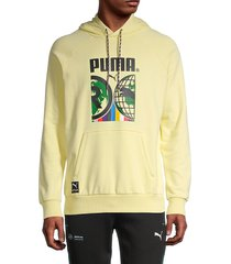 puma men's international graphic hoodie - yellow - size l