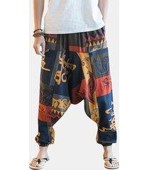 harem pantaloni a palazzo in 100% cotone con stampa etnica