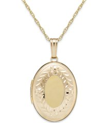 engraved oval locket in 14k gold